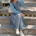 Dress Autumn 2020 Brown dress, blue dress Average size longuette singleton  Long sleeves commute Crew neck Loose waist Broken flowers Socket routine Korean version 9121# other polyester fiber