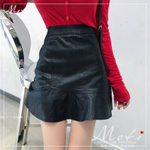 skirt Winter of 2019 Average size, s, M Red shirt, black shirt, Khaki Skirt, black skirt Short skirt commute High waist Ruffle Skirt Solid color 18-24 years old 1101# More than 95% other Other / other PU Lotus leaf edge