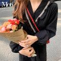 Dress Spring 2021 black Average size Mid length dress singleton  Long sleeves commute V-neck Elastic waist Others 18-24 years old Korean version 9170#