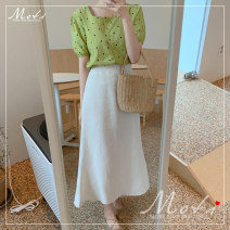 skirt Summer of 2019 S,M,L,XL Beige skirt, green top, skirt + top Mid length dress commute High waist other Solid color 18-24 years old gls 51% (inclusive) - 70% (inclusive) Other / other cotton Korean version