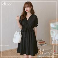 Dress Summer 2020 White, black S,M,L,XL Middle-skirt singleton  Short sleeve commute Elastic waist Solid color 18-24 years old Korean version 1982#