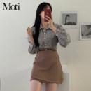 Fashion suit Spring 2021 S,M,L,XL Camel skirt, black skirt, plaid shirt, plaid shirt 18-25 years old