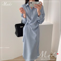 Dress Autumn 2020 Blue, black S,M,L,XL Mid length dress singleton  Long sleeves tailored collar Irregular skirt 18-24 years old polyester fiber