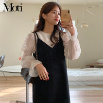 Dress Spring 2021 Top, skirt S,M,L,XL Mid length dress Long sleeves Crew neck High waist Solid color pagoda sleeve Others 18-24 years old Type A Top 5011 + skirt 5012