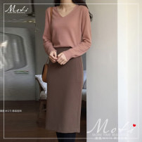 sweater Winter of 2019 S. M, l, average size Lotus pink sweater, brown skirt Long sleeves Socket singleton  Regular other 91% (including) - 95% (excluding) V-neck Regular commute routine Solid color Straight cylinder 18-24 years old Other / other