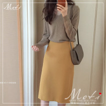 skirt Winter of 2019 S. M, l, XL, one size fits all Mustard skirt, oat sweater Mid length dress commute High waist A-line skirt Solid color Type A 18-24 years old 81% (inclusive) - 90% (inclusive) Other / other Korean version