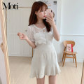 Fashion suit Spring 2021 S,M,L,XL Short skirt with ruffles, white lace shirt, off white lace shirt 18-25 years old