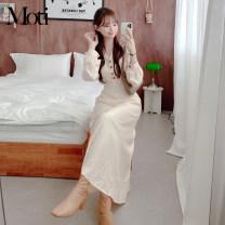 Dress Spring 2021 Apricot, Khaki S,M,L Mid length dress singleton  Long sleeves commute High waist Others 18-24 years old Korean version 3230#