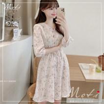 Dress Summer 2020 Off white S,M,L,XL Short skirt other three quarter sleeve commute V-neck High waist 18-24 years old Korean version 2077#