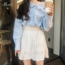 skirt Summer of 2019 S,M,L,XL Blue shirt, beige skirt, suit (shirt + skirt) Short skirt commute Natural waist Pleated skirt Solid color Type A 18-24 years old B-505+506 51% (inclusive) - 70% (inclusive) Other / other Korean version