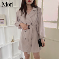 Dress Summer 2021 Light grey, Khaki S,M,L,XL Short skirt singleton  Long sleeves tailored collar High waist 18-24 years old