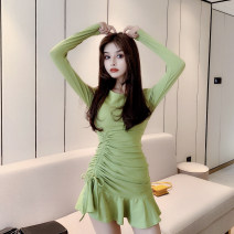 Dress Autumn 2020 S,M,L Short skirt singleton  Long sleeves commute Crew neck High waist Solid color Socket Ruffle Skirt routine 18-24 years old Type H Korean version Pleating 31% (inclusive) - 50% (inclusive) knitting cotton