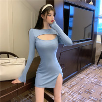 Dress Spring 2021 Blue, black, pink S,M,L Miniskirt singleton  Long sleeves commute High waist Solid color Socket A-line skirt routine 18-24 years old Type A Ol style 51% (inclusive) - 70% (inclusive) other cotton