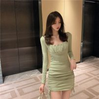 Dress Autumn 2020 Green, black S,M,L Short skirt singleton  Long sleeves commute High waist Solid color 18-24 years old Korean version 51% (inclusive) - 70% (inclusive)