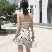 Dress Summer of 2019 Dot S,M,L Miniskirt singleton  Sleeveless commute One word collar High waist Dot Socket One pace skirt other camisole Type H Other / other Retro 31% (inclusive) - 50% (inclusive) other cotton
