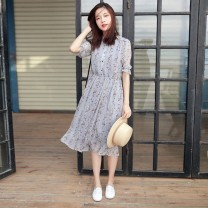 Dress Summer 2020 Purple grey S,M,L,XL,3XL,XXL Mid length dress singleton  Short sleeve commute High waist 25-29 years old Korean version pin-757 More than 95% other
