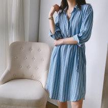 Dress Summer 2021 blue S,M,L Mid length dress Nine point sleeve commute Polo collar stripe routine Korean version