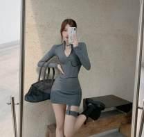 Dress Autumn 2020 Gray, black Average size Short skirt singleton  Long sleeves commute stand collar High waist Type X Korean version