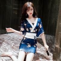 Dress Summer 2020 White, blue S,M,L Short skirt Two piece set Short sleeve commute Decor ethnic style