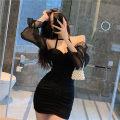 Dress Summer 2020 black S, M Short skirt three quarter sleeve commute One word collar High waist Pencil skirt bishop sleeve Retro brocade