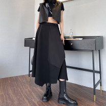 skirt Spring 2021 M,L,XL Classic black Mid length dress street High waist A-line skirt Solid color Type A 25-29 years old 0229# Button, zipper, stitching Europe and America