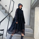 Dress Autumn 2020 black Average size Mid length dress singleton  Long sleeves street other High waist Solid color Socket A-line skirt Lotus leaf sleeve Others 25-29 years old Type A Ruffles, pleats, stitching, lace 8226# Europe and America