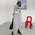 Dress Summer 2021 Average size Mid length dress singleton  Sleeveless street Crew neck Loose waist letter Socket other Others 25-29 years old Type H Print, split Europe and America