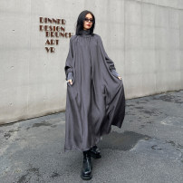 Dress Spring 2021 Black, gray Average size longuette singleton  Long sleeves street High collar Loose waist Solid color Socket A-line skirt routine Others 25-29 years old Type A Folds, pockets 81896# Europe and America