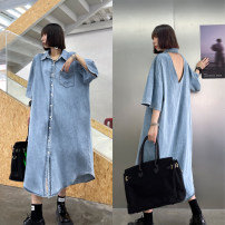 Dress Summer 2021 Water blue, extreme grey Average size Mid length dress singleton  Short sleeve street Polo collar Loose waist Solid color Single breasted other routine Others 25-29 years old Type H Cutouts, pockets, buttons 8887# 71% (inclusive) - 80% (inclusive) Europe and America