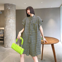 Dress Summer 2021 Picture color Average size Mid length dress singleton  Sleeveless street stand collar Loose waist other Single breasted other other Others 25-29 years old Type H Pocket, button, print 2110# Europe and America