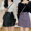 skirt Winter 2020 XS,S,M,L,XL,2XL,3XL,4XL Black, purple, apricot Short skirt commute High waist A-line skirt Solid color Type A 51% (inclusive) - 70% (inclusive) other polyester fiber zipper