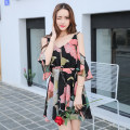 Dress Autumn of 2019 Picture color S,M,L,XL,2XL Short skirt Short sleeve Sweet V-neck Elastic waist Decor Single breasted Irregular skirt Flying sleeve camisole Type X Other / other 81% (inclusive) - 90% (inclusive) Chiffon cotton