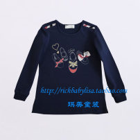 T-shirt Navy Blue Other / other 110cm,120cm,130cm,145cm,155cm,165cm female spring and autumn Long sleeves Crew neck No model cotton Solid color 3, 4, 5, 6, 7, 8, 9, 10, 11, 12, 13, 14, 14 and above