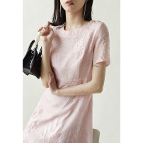 Dress Spring 2021 Beautiful white spot, pink spot M,L,XL Mid length dress singleton  Short sleeve commute Crew neck High waist Solid color zipper other Special clothes Korean version More than 95% other other