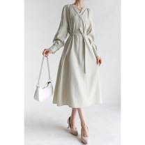 Dress Spring 2021 Khaki spot, light green spot 36,38 Mid length dress singleton  Long sleeves commute other Solid color Socket other Special clothes literature 81% (inclusive) - 90% (inclusive) other