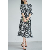 Dress Spring 2021 White spot, black spot M,L,XL Mid length dress singleton  elbow sleeve Crew neck High waist Single breasted routine Others Special clothes More than 95% silk