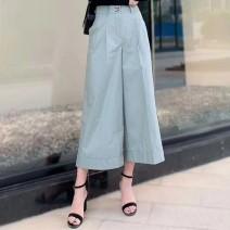 Casual pants Light blue, precious blue 1 / XS, 2 / s, 3 / m, 4 / L, 5 / XL Summer 2020 Ninth pants Wide leg pants High waist Versatile Thin money 96% and above O'amash banner cotton pocket cotton