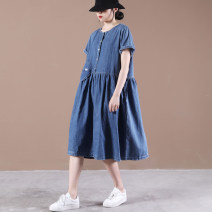 Dress Summer 2021 Dark blue, light blue Average size longuette singleton  Short sleeve commute Crew neck Loose waist Solid color Big swing routine Others Other / other Korean version Folds, pockets Half button collar denim dress 31% (inclusive) - 50% (inclusive) Denim cotton