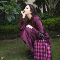 Dress Spring 2021 Purplish red XS,S,M,L Mid length dress singleton  Long sleeves commute Polo collar Loose waist Solid color Single breasted Pencil skirt shirt sleeve Others Type H Other / other Korean version Button, button Silk and satin nylon