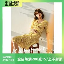 Dress Summer 2020 Rice flower with yellow background XS,S,M,L,XL Mid length dress Short sleeve V-neck Dimple Hsu Q31151 51% (inclusive) - 70% (inclusive) other