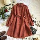 Dress Winter of 2018 Apricot, Burgundy, blue, khaki, pink, rust red Average size Middle-skirt singleton  Long sleeves commute Polo collar High waist Solid color Socket Princess Dress bishop sleeve Others 18-24 years old Type A Korean version Bow, ruffle, lace, stitching, asymmetric