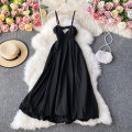 Dress Autumn 2020 black S,M,L,XL Mid length dress singleton  Long sleeves commute V-neck High waist Solid color Socket A-line skirt routine Others 18-24 years old Type A Korean version 30% and below other other