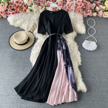 Dress Summer 2021 black S,M,L,XL,2XL Mid length dress singleton  Short sleeve commute Crew neck High waist Solid color Socket A-line skirt routine 18-24 years old Type A Korean version Pleating, stitching, asymmetry, printing 30% and below other other