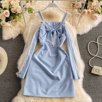 Dress Summer 2021 wathet S,M,L Short skirt singleton  Long sleeves commute One word collar High waist Solid color zipper A-line skirt routine 18-24 years old Type A Korean version Bow, zipper, lace 30% and below other other
