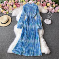 Dress Winter 2020 blue Average size Mid length dress singleton  Long sleeves commute Crew neck High waist Solid color Socket A-line skirt routine Others 18-24 years old Type A Korean version 30% and below other other