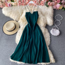 Dress Winter 2020 Black, green, red M,L,XL Mid length dress singleton  Sleeveless commute V-neck High waist Solid color Socket A-line skirt routine camisole 18-24 years old Type A Korean version 30% and below other other