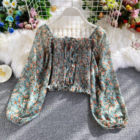 Lace / Chiffon Autumn 2020 Light green, black, pink, yellow Average size Long sleeves commute Socket singleton  Self cultivation have cash less than that is registered in the accounts square neck Decor other 18-24 years old Korean version 30% and below