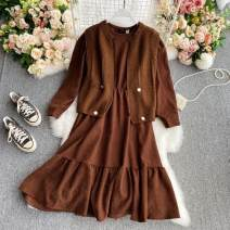 Dress Winter 2020 Red, gray, brown, black Average size Mid length dress Two piece set Long sleeves commute Crew neck High waist other Socket A-line skirt routine 18-24 years old Type A Korean version Button 30% and below other other