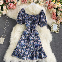 Dress Spring 2021 Blue, violet, white M, L Short skirt singleton  Short sleeve commute square neck High waist Decor Socket A-line skirt routine Others 18-24 years old Type A Korean version Frenulum 30% and below other other