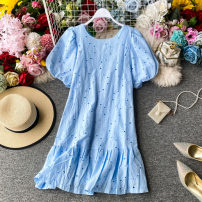 Dress Summer 2020 Sky blue, white, light yellow, pink purple Average size Mid length dress singleton  Short sleeve commute Crew neck High waist Solid color Socket Ruffle Skirt other Others 18-24 years old Type A Korean version Hollowed out, pleated, stitched, lace 31% (inclusive) - 50% (inclusive)